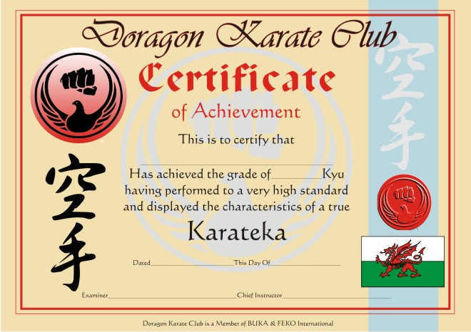 Martial arts certificate templates karate black belt for Karate certificates templates free